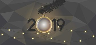 Stylish background new year 2019 beautiful design branches of spruce and new year toys stock illustration