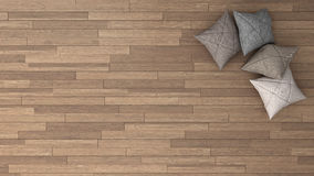 Stylish background with parquet and soft pillows. Top view Royalty Free Stock Photography