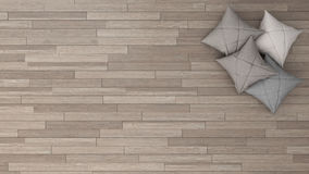 Stylish background with parquet and soft pillows, top view. Stylish background with parquet and four soft pillows, top view Stock Photography