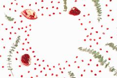 Stylish background with pomegranate and eucalyptus branches stock photos