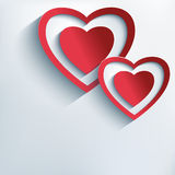Stylish background with red paper 3d hearts Stock Photo