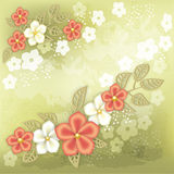 Stylish background with red and white flowers. Stylish green background with red and white flowers. Old-style. Vector illustration Stock Photos