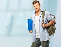 Stylish with backpack Royalty Free Stock Image