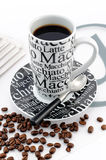 Stylish balck and white coffee mug Stock Image