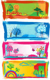 Stylish banners. All seasons. Set of stylish cartoon banners vector illustration
