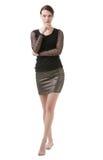 Stylish barefoot woman in black Stock Photo