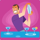 Stylish bartender prepares a cocktail. At the bar vector illustration