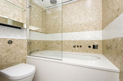 Stylish bathroom with large designer bathtub and mosaic tiled wa. Stylish bathroom with large designer bathtub with glass panel and mosaic tiled walls made of royalty free stock images