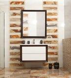 Stylish bathroom in luxury modern house. Stylish designed bathroom in luxury modern house royalty free stock photography