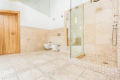 Stylish bathroom. Stylish space bathroom with rock floor stock image
