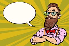 Stylish bearded hipster with glasses confident. Stylish bearded hipster with glasses. confident. Comic cartoon pop art retro illustration vector drawing royalty free illustration