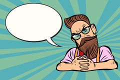 Stylish bearded hipster with glasses, sceptical vector illustration