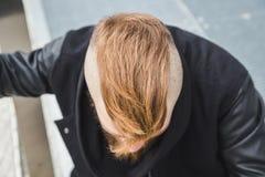 Stylish bearded man posing in the street Stock Photography