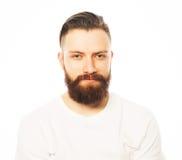 Stylish bearded man in white shirt. Royalty Free Stock Image