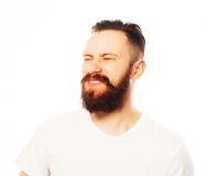 Stylish bearded man in white shirt. Stock Photos