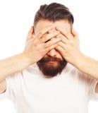 Stylish bearded man in white shirt. Stock Images