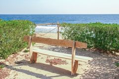 Stylish beautiful bench on nature near the sea background royalty free stock photo
