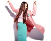 Stylish beautiful brunette woman model posing in studio stock photos
