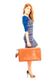 Stylish beautiful girl with retro suitcase Royalty Free Stock Photo