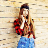 Stylish beautiful hipster girl - outdoor Royalty Free Stock Image