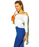 Stylish beautiful model in summer stylish clothes in studio Royalty Free Stock Photo