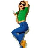 Stylish beautiful model in summer stylish clothes in studio Stock Image