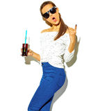 Stylish beautiful model in summer stylish clothes in studio Stock Photography