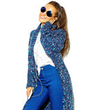 Stylish beautiful model in summer stylish clothes in studio Royalty Free Stock Image