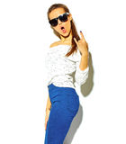 Stylish beautiful model in summer stylish clothes in studio Royalty Free Stock Photos