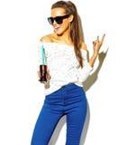 Stylish beautiful model in summer stylish clothes in studio Stock Photo
