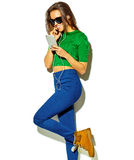 Stylish beautiful model in summer stylish clothes in studio Stock Images