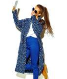 Stylish beautiful model in summer stylish clothes in studio Stock Photos