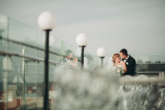 Stylish beautiful wedding couple kissing and hugging on background panoramic view of the old town Royalty Free Stock Photography