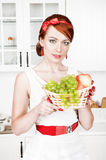 Stylish beautiful woman and basket with fruits Royalty Free Stock Image