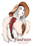 Stylish beautiful young woman in hat. Sketch. Hand drawn girl in fur coat. Fashion illustration. Royalty Free Stock Photos