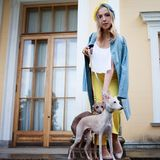 Stylish and beautiful young woman walks with dogs Royalty Free Stock Photo