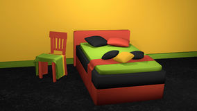 Stylish bed in bold colors with decorative chair. As well as pillows and blankets on black carpet floor in front of orange-yellow wall. 3d rendering stock illustration