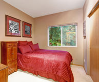 Stylish bedroom with carpet, and one window. Royalty Free Stock Photography