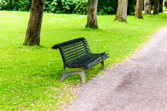 Stylish bench in summer park Stock Images