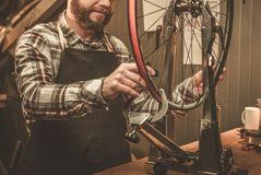 Stylish bicycle mechanic doing his  professional work in workshop. Stock Photography