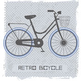 Stylish bicycle. Retro bicycle on vintage background with polka dots can be used for greeting card, covers, T-Shirts, Tops, Kids T-Shirts and more creative Stock Images