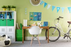 Stylish bike standing in room Royalty Free Stock Image