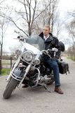 Stylish biker Stock Photography