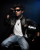Stylish biker guy Royalty Free Stock Images