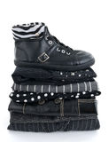 Stylish black clothes and a leather boot Royalty Free Stock Images