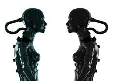 Stylish black cyborg. 3d wired robots in profile isolated on white Stock Image