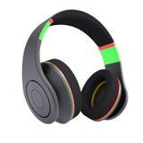 Stylish black headphones. Isolated render on a white background Stock Photography