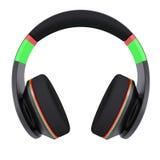 Stylish black headphones. Isolated render on a white background Stock Images