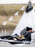 Stylish black and white picnic. Stock Photos