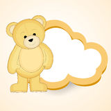 Stylish blank frame shape of cloud for a message with cute bear. Stock Photo
